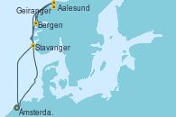 Visitando Ámsterdam (Holanda),Navegación,Aalesund (Noruega),Bergen (Noruega),Geiranger (Noruega),Stavanger (Noruega),Navegación,Ámsterdam (Holanda)
