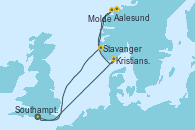 Visitando Southampton (Inglaterra), Kristiansand (Noruega), Aalesund (Noruega), Molde (Noruega), Stavanger (Noruega), Southampton (Inglaterra)
