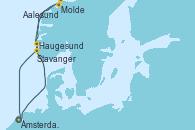 Visitando Ámsterdam (Holanda), Molde (Noruega), Aalesund (Noruega), Haugesund (Noruega), Stavanger (Noruega), Ámsterdam (Holanda)