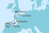 Visitando Southampton (Inglaterra), La Rochelle (Francia), La Rochelle (Francia), Bilbao (España), La Coruña (Galicia/España), Vigo (España), Le Havre (Francia), Southampton (Inglaterra)