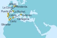 Visitando Ámsterdam (Holanda), La Rochelle (Francia), La Rochelle (Francia), Bilbao (España), La Coruña (Galicia/España), Puerto Leixões (Portugal), Lisboa (Portugal), Cádiz (España), Gibraltar (Inglaterra), Cartagena (Murcia), Civitavecchia (Roma)
