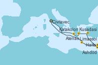 Visitando Civitavecchia (Roma), Limassol (Chipre), Haifa (Israel), Ashdod (Israel), Ashdod (Israel), Kusadasi (Efeso/Turquía), Atenas (Grecia), Katakolon (Olimpia/Grecia), Civitavecchia (Roma)