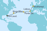 Visitando Fort Lauderdale (Florida/EEUU), Kings Wharf (Bermudas), Ponta Delgada (Azores), Lisboa (Portugal), Southampton (Inglaterra)