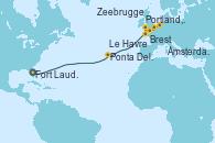 Visitando Fort Lauderdale (Florida/EEUU), Ponta Delgada (Azores), Brest (Francia), Portland, Dorset (Reino Unido), Le Havre (Francia), Zeebrugge (Bruselas), Ámsterdam (Holanda)