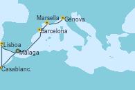 Visitando Málaga, Casablanca (Marruecos), Lisboa (Portugal), Barcelona, Marsella (Francia), Génova (Italia)