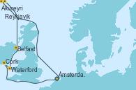 Visitando Ámsterdam (Holanda), Akureyri (Islandia), Akureyri (Islandia), Reykjavik (Islandia), Reykjavik (Islandia), Belfast (Irlanda), Waterford (Irlanda), Cork (Irlanda), Ámsterdam (Holanda)