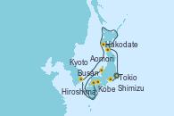 Visitando Tokio (Japón), Shimizu (Japón), Kobe (Japón), Kyoto (Japón), Kyoto (Japón), Hiroshima (Japón), Busán (Corea del Sur), Hakodate (Japón), Aomori (Japón), Tokio (Japón)