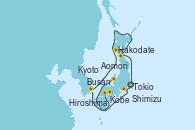 Visitando Tokio (Japón), Shimizu (Japón), Kyoto (Japón), Kobe (Japón), Kobe (Japón), Hiroshima (Japón), Busán (Corea del Sur), Hakodate (Japón), Aomori (Japón), Tokio (Japón)