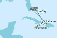 Visitando Miami (Florida/EEUU), Falmouth (Jamaica), Labadee (Haiti), CocoCay (Bahamas), Miami (Florida/EEUU)
