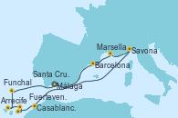 Visitando Málaga, Savona (Italia), Marsella (Francia), Barcelona, Casablanca (Marruecos), Casablanca (Marruecos), Fuerteventura (Canarias/España), Arrecife (Lanzarote/España), Santa Cruz de Tenerife (España), Funchal (Madeira), Málaga