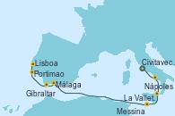 Visitando Civitavecchia (Roma), Nápoles (Italia), Messina (Sicilia), La Valletta (Malta), Málaga, Gibraltar (Inglaterra), Lisboa (Portugal)