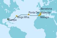 Visitando Tampa (Florida), Kings Wharf (Bermudas), Ponta Delgada (Azores), Málaga, Valencia, Barcelona