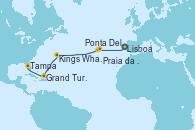 Visitando Lisboa (Portugal), Ponta Delgada (Azores), Praia da Vittoria (Azores), Kings Wharf (Bermudas), Grand Turks(Turks & Caicos), Tampa (Florida)