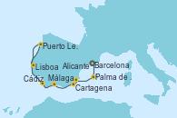 Visitando Barcelona, Palma de Mallorca (España), Alicante (España), Cartagena (Murcia), Málaga, Cádiz (España), Puerto Leixões (Portugal), Lisboa (Portugal)