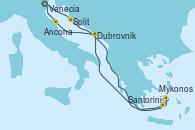 Visitando Venecia (Italia), Split (Croacia), Santorini (Grecia), Mykonos (Grecia), Mykonos (Grecia), Dubrovnik (Croacia), Ancona (Italia), Venecia (Italia)