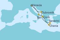 Visitando Venecia (Italia), Bari (Italia), Santorini (Grecia), Chania (Creta/Grecia), Corfú (Grecia), Dubrovnik (Croacia), Venecia (Italia)
