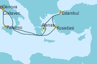 Visitando Génova (Italia), Kusadasi (Efeso/Turquía), Estambul (Turquía), Estambul (Turquía), Atenas (Grecia), Palermo (Italia), Civitavecchia (Roma), Génova (Italia)