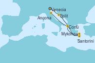 Visitando Venecia (Italia), Split (Croacia), Santorini (Grecia), Mykonos (Grecia), Mykonos (Grecia), Corfú (Grecia), Ancona (Italia)