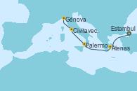 Visitando Estambul (Turquía), Estambul (Turquía), Atenas (Grecia), Palermo (Italia), Civitavecchia (Roma), Génova (Italia)