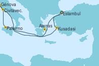 Visitando Estambul (Turquía), Estambul (Turquía), Atenas (Grecia), Palermo (Italia), Civitavecchia (Roma), Génova (Italia), Kusadasi (Efeso/Turquía), Estambul (Turquía)