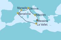 Visitando Messina (Sicilia), La Valletta (Malta), Barcelona, Marsella (Francia), Génova (Italia), Nápoles (Italia), Messina (Sicilia)