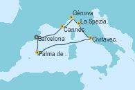 Visitando Barcelona, Cannes (Francia), Génova (Italia), La Spezia, Florencia y Pisa (Italia), Civitavecchia (Roma), Palma de Mallorca (España), Barcelona