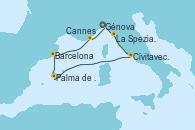 Visitando Génova (Italia), La Spezia, Florencia y Pisa (Italia), Civitavecchia (Roma), Palma de Mallorca (España), Barcelona, Cannes (Francia), Génova (Italia)
