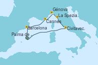 Visitando Palma de Mallorca (España), Barcelona, Cannes (Francia), Génova (Italia), La Spezia, Florencia y Pisa (Italia), Civitavecchia (Roma), Palma de Mallorca (España)