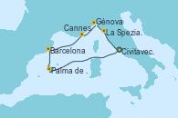 Visitando Civitavecchia (Roma), Palma de Mallorca (España), Barcelona, Cannes (Francia), Génova (Italia), La Spezia, Florencia y Pisa (Italia), Civitavecchia (Roma)