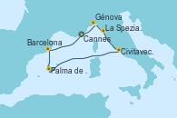 Visitando Cannes (Francia), Génova (Italia), La Spezia, Florencia y Pisa (Italia), Civitavecchia (Roma), Palma de Mallorca (España), Barcelona, Cannes (Francia)