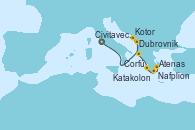 Visitando Civitavecchia (Roma), Dubrovnik (Croacia), Kotor (Montenegro), Corfú (Grecia), Katakolon (Olimpia/Grecia), Nafplion (Grecia), Atenas (Grecia)