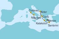 Visitando Atenas (Grecia), Santorini (Grecia), Katakolon (Olimpia/Grecia), Corfú (Grecia), Kotor (Montenegro), Nápoles (Italia), Civitavecchia (Roma)