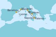 Visitando Civitavecchia (Roma), Nápoles (Italia), Palermo (Italia), Livorno, Pisa y Florencia (Italia), Montecarlo (Mónaco), Barcelona