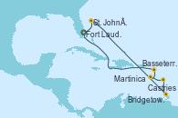 Visitando Fort Lauderdale (Florida/EEUU), St. John´s (Antigua y Barbuda), Castries (Santa Lucía/Caribe), Bridgetown (Barbados), Martinica (Antillas), Basseterre (Antillas), Fort Lauderdale (Florida/EEUU)