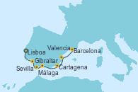 Visitando Lisboa (Portugal), Sevilla (España), Sevilla (España), Gibraltar (Inglaterra), Málaga, Cartagena (Murcia), Valencia, Barcelona