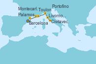 Visitando Barcelona, Palamos (Gerona/España), Toulon (Francia), Montecarlo (Mónaco), Portofino (Italia), Livorno, Pisa y Florencia (Italia), Livorno, Pisa y Florencia (Italia), Civitavecchia (Roma)