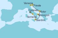 Visitando Civitavecchia (Roma), Sorrento (Nápoles/Italia), Giardini Naxos (Italia), Monopoli (Italia), Kotor (Montenegro), Trieste (Italia), Venecia (Italia), Venecia (Italia)