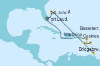 Visitando Fort Lauderdale (Florida/EEUU), St. John´s (Antigua y Barbuda), Bridgetown (Barbados), Castries (Santa Lucía/Caribe), Martinica (Antillas), Basseterre (Antillas), Fort Lauderdale (Florida/EEUU)
