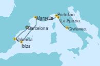 Visitando Barcelona, Valencia, Ibiza (España), Marsella (Francia), Portofino (Italia), La Spezia, Florencia y Pisa (Italia), Civitavecchia (Roma)