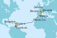 Visitando Fuerte de France (Martinica), Pointe a Pitre (Guadalupe), Bridgetown (Barbados), Santa Cruz de Tenerife (España), Málaga, Barcelona, Marsella (Francia), Génova (Italia)