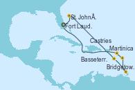 Visitando Fort Lauderdale (Florida/EEUU), St. John´s (Antigua y Barbuda), Martinica (Antillas), Bridgetown (Barbados), Castries (Santa Lucía/Caribe), Basseterre (Antillas), Fort Lauderdale (Florida/EEUU)
