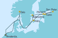 Visitando Ámsterdam (Holanda), Estocolmo (Suecia), Helsinki (Finlandia), Tallin (Estonia), San Petersburgo (Rusia), San Petersburgo (Rusia), Visby (Suecia), Oslo (Noruega), Ámsterdam (Holanda)