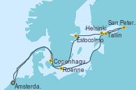 Visitando Ámsterdam (Holanda), Roenne (Dinamarca), San Petersburgo (Rusia), San Petersburgo (Rusia), Tallin (Estonia), Helsinki (Finlandia), Estocolmo (Suecia), Copenhague (Dinamarca), Ámsterdam (Holanda)