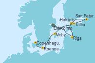 Visitando Estocolmo (Suecia), Riga (Letonia), Tallin (Estonia), San Petersburgo (Rusia), San Petersburgo (Rusia), Helsinki (Finlandia), Visby (Suecia), Roenne (Dinamarca), Copenhague (Dinamarca)