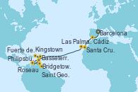 Visitando Barcelona, Cádiz (España), Santa Cruz de Tenerife (España), Las Palmas de Gran Canaria (España), Philipsburg (St. Maarten), Basseterre (Antillas), Kingstown (Granadinas), Bridgetown (Barbados), Saint George (Grenada), Roseau (Dominica), Fuerte de France (Martinica)