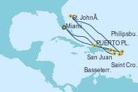 Visitando Miami (Florida/EEUU), PUERTO PLATA, REPUBLICA DOMINICANA, San Juan (Puerto Rico), Saint Croix (Islas Vírgenes), St. John´s (Antigua y Barbuda), Basseterre (Antillas), Philipsburg (St. Maarten), Miami (Florida/EEUU)