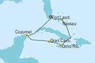 Visitando Fort Lauderdale (Florida/EEUU), Nassau (Bahamas), Ocho Ríos (Jamaica), Gran Caimán (Islas Caimán), Cozumel (México), Fort Lauderdale (Florida/EEUU)
