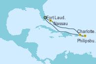 Visitando Fort Lauderdale (Florida/EEUU), Nassau (Bahamas), Charlotte Amalie (St. Thomas), Philipsburg (St. Maarten), Fort Lauderdale (Florida/EEUU)
