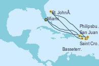 Visitando Miami (Florida/EEUU), San Juan (Puerto Rico), Saint Croix (Islas Vírgenes), St. John´s (Antigua y Barbuda), Basseterre (Antillas), Philipsburg (St. Maarten), Miami (Florida/EEUU)