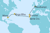 Visitando Southampton (Inglaterra), Funchal (Madeira), Santa Cruz de Tenerife (España), Kings Wharf (Bermudas), Kings Wharf (Bermudas), Miami (Florida/EEUU)